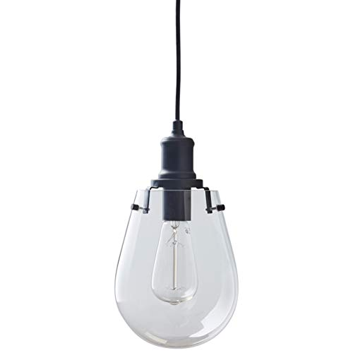 Stone & Beam Melissa Industrial Round Glass Single Pendant Fixture With Light Bulb - 6.75 x 6.75 Inches, 14.5 - 62.5 Inch Cord, Black