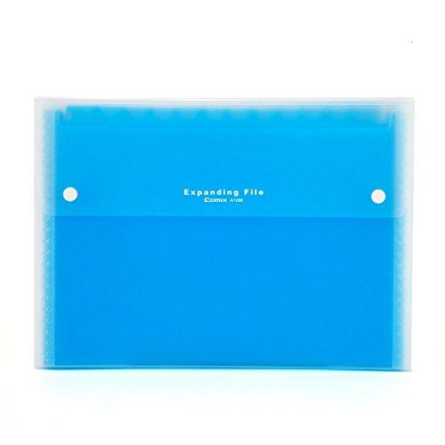 COMIX A4 Letter Size 13-Pocket Portable Expanding File Organizer Jackets - Blue (A1266BU)