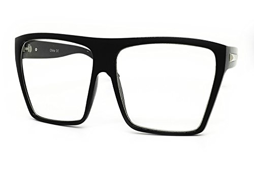 O2 Eyewear 7310 Oversized XXL Vintage Classic Nerd retro Wayfarer Clear Lens Glasses (BLACK, - Prescription Ny Pads