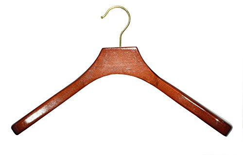 Deluxe Wooden Coat Hanger, Walnut Finish with Brass Hardware, Box of 24 by The Great American Hanger Company by The Great American Hanger Company
