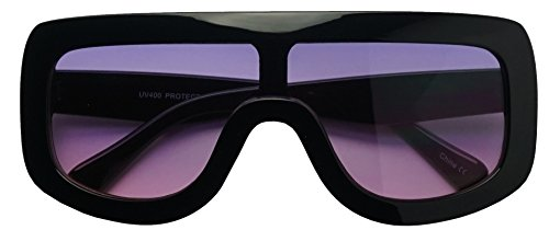 Large Oversized Full Shield Squared Bold Flat Top Sunglasses Retro goggle Shades (Black | Purple, - Gradient Squared