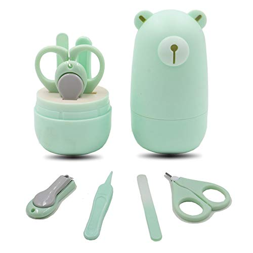 Baby Nail Clipper Kit - Carly Shop Baby Nail Care Kit with Mini Nail Scissor,Nail Clipper,Baby Tweezer and Nail File,Safe Baby Nail Manicure Set for Infant & Newborn,Set of 4(Mint Green)