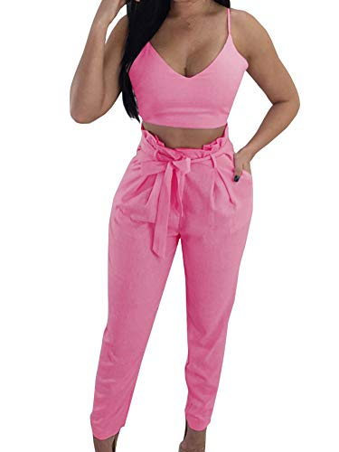 FANCYINN Women 2 Peices Outfits V-Neck Crop Top and Bodycon Long Pants with Belt M Pink]()