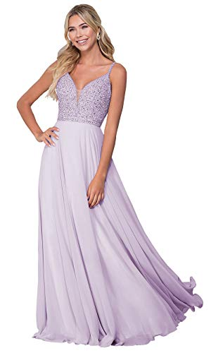 Sheer V Neck Beaded Bodice Chiffon Evening Prom Dresses Long Formal Party Gowns (Lilac,2)