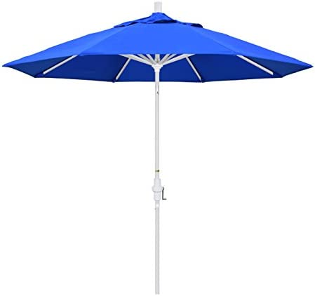 California Umbrella 9 Round Aluminum Market Umbrella, Crank Lift, Collar Tilt, White Pole, Sunbrella Pacific Blue