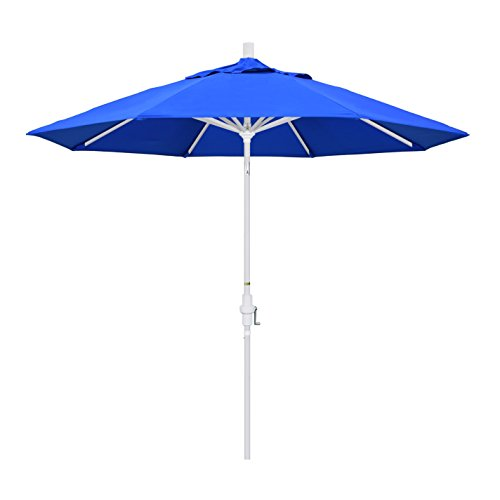 California Umbrella 9 Round Aluminum Market Umbrella, Crank Lift, Collar Tilt, White Pole, Sunbrella Pacific Blue
