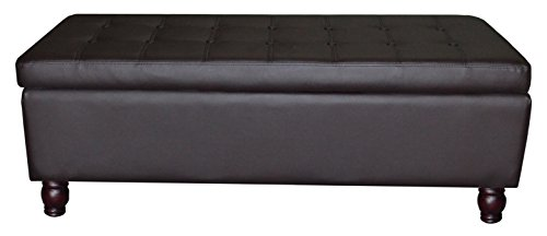 US Pride Furniture Bonded Leather Tufted Storage Ottoman Bench, Brown