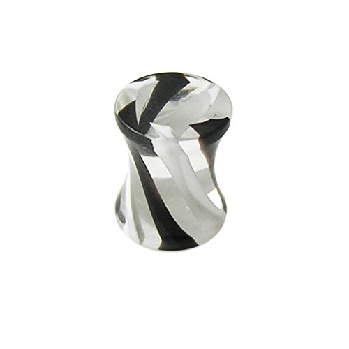 (4MM UV Black and White Stripe Marble Swirl Double Flared Ear Plug Body jewelry)