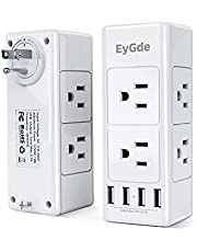 EyGde Power Bar Wall Outlet Extender with 6 Outlets(3 Sided) and 4 USB Ports, Outlet Splitter with Rotating Plug, Multi Plug Outlet for Travel, Home, Dorm, Office, 1700 Joules, White