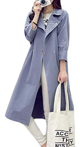 Trench Jacket Dress Blue Work Coat Overcoat Casual Womens EKU Lightweight Lapel BPqWOZ67Y