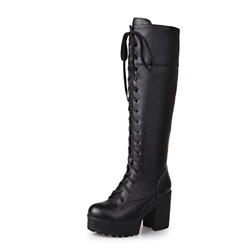 Chunky Knee Style High Simple Round Toe Heels High Platform Knight Lace Boots Black Lucksender Womens Up wYxP0n