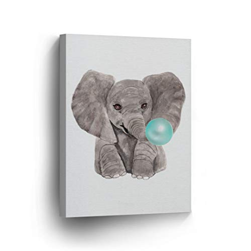 Cute Baby Elephant Animal Bubble Gum Art Teal Blue Canvas Print Watercolor Painting Wall Art Home Decoration Pop Art Kids Room Decor Stretched Ready to Hang-%100 Handmade in The USA -