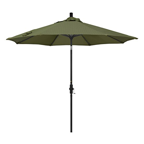 California Umbrella 9' Round Aluminum Market Umbrella, Crank Lift, Collar Tilt, Black Pole, Terrace Fern Olefin