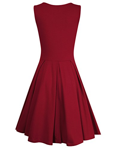 MISSKY Women Sleeveless Round Neck Knee Length Fit Flare Swing Casual Vintage Dress (L, Burgundy-90) by MISSKY (Image #2)