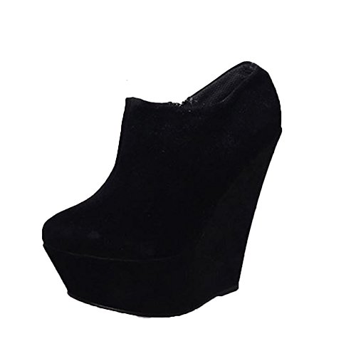 Sendit4Me Suedette Plateau High Heel Keil Stiefeletten Black