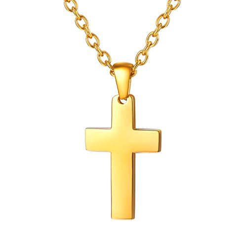 PROSTEEL 18K Gold Plated Cross Necklaces Pendants Dainty Minimalist Christian Jewelry Girl Women Mothers Daughter Wife Gift Cross Necklace