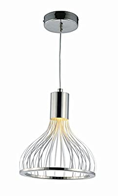 ET2 E24564-75PC Turbo LED Single Pendant, Polished Chrome Finish, Glass, PCB LED Bulb, 26W Max., Dry Safety Rated, 3000K Color Temp., Glass Shade Material, 370 Rated Lumens