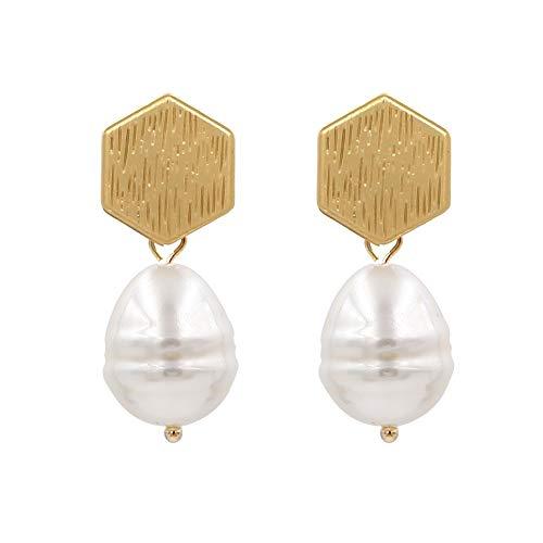 ESCYQ Women's Earrings Creative Geometric Metal Pearl Earrings Simple Freshwater Pearl Earrings, Ladies Birthday Gift