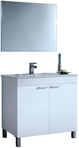 Espejo SERMAHOME- Conjunto de Ba/ño modelo Gran Classic Mueble de Lavabo Color Blanco Brillo Lavabo