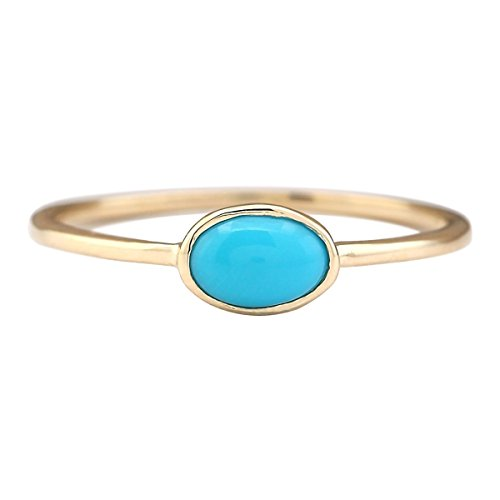 1 Carat Natural Blue Turquoise 14K Yellow Gold Solitaire Promise Ring for Women Exclusively Handcrafted in USA