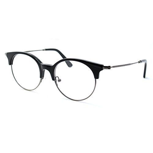 TIJN Women Cateye Eyeglasses Frame Semi-rimless - Rimless Eyeglasses Cateye