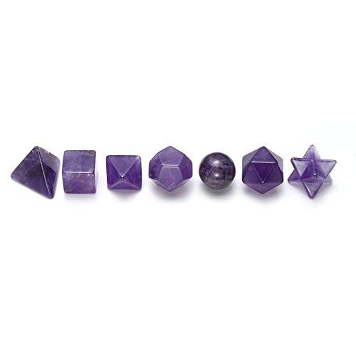 Jovivi 7pcs Amethyst Platonic Solids Sacred Geometry Set w/Merkaba Star Chakra Clearing Balancing, Meditation