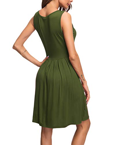 3e8aa9df566f AUSELILY Women's Sleeveless Pleated Loose Swing Casual Dress with Pockets  Knee Length