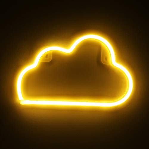 OYE HOYE Decorative LED Cloud Shaped Neon Night Light with Warm White Lamp, Neon Sign Operated by Battery/USB Idea for Home Decoration,Bedroom, Lounge, Office, Wedding, Christmas
