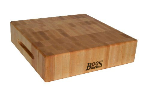 John Boos Block CCB121203 Classic Reversible Maple Wood End Grain Chopping Block, 12 Inches x 12 Inches x 3 Inches