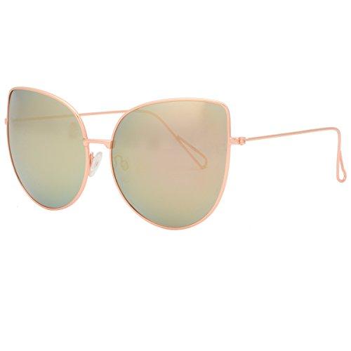 Women's Large Oversized Cateye Sunglasses Lightweight Metal Frame Polarized Shade 86853B Rose - Amazon Rose Sunglasses Gold Mirrored
