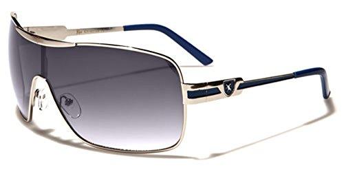 Khan Fashion Men's Square Aviator Style Sunglasses Silver Black Blue Sport - Sunglasses 80s Styles