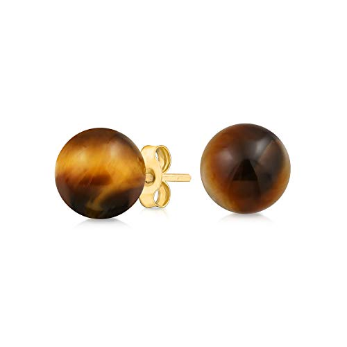 Gemstone Brown Tigers Eye Round Ball Stud Earrings For Women 14K Real Yellow Gold 6MM November Birthstone