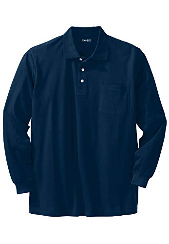 Shirt Polo Pocket Pique - KingSize Men's Big & Tall Long-Sleeve Pique Polo Shirt with Pocket, Navy