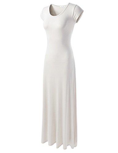 NEARKIN (NKWLD04271 Attractive Women Casual Unbane Figure Hugging Maxi Dress White US L(Tag Size XL)