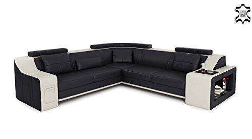 Awesome Awesome Affordable Ledercouch Ecksofa Schwarz Wei Lform Leder  Modern Ledercouch Couch Sofa Mit Ledlicht Beleuchtung Designsofa Berlin Ii  Amazonde ...