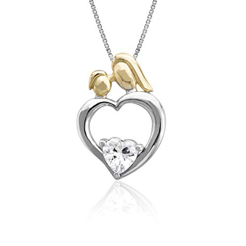 Honolulu Jewelry Company 18K Yellow Gold Two Tone Plated Sterling Silver Love Birds on Open Heart with CZ Heart Necklace Pendant and 18