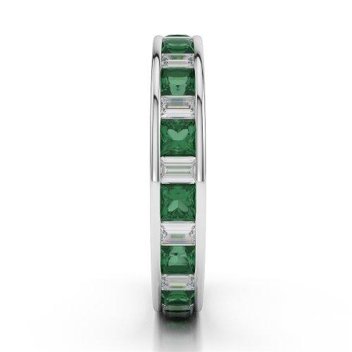 G-H/VS 1,35CT Coupe ronde sertie de diamants Émeraude et Full Eternity Bague en platine 950Agdr-1141