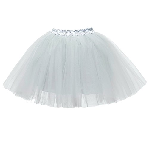 PerfectDay Women's Mini Tutu Ballet Multi-layer Ruffle Frilly Petticoat Skirt Grey