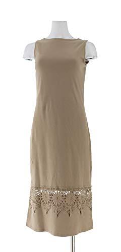 Liz Claiborne NY Midi Dress Lace Trim Burlap XXS New A263447 ()