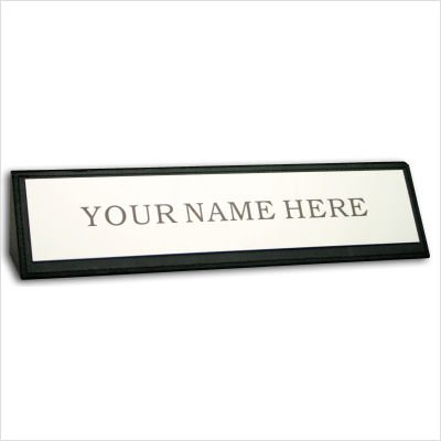 Black Leather Nameplate, Personalization Included