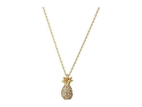 Kate Spade New York Women's The Pool Pave Pineapple Mini Pendant Necklace Clear/Gold One Size