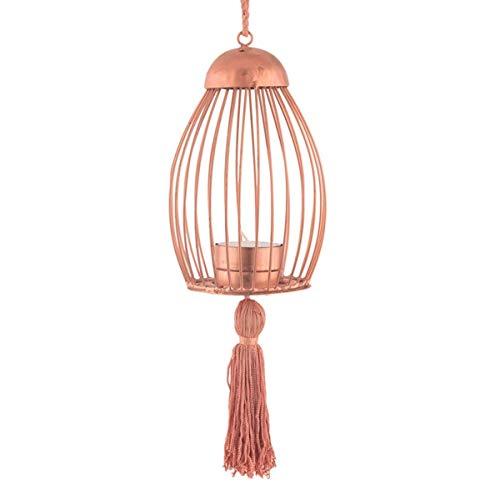 storeindya Iron Lantern Tea Light Candle Holder Brass Copper Plating Indoor Outdoor Home Garden Accessory Decorations (Copper) from storeindya