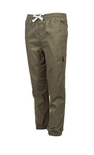 Price comparison product image Tony Hawk Kids Boys Cotton Stretch Twill Jogger Pants With Drawstring and Pockets Olive Green Size 8