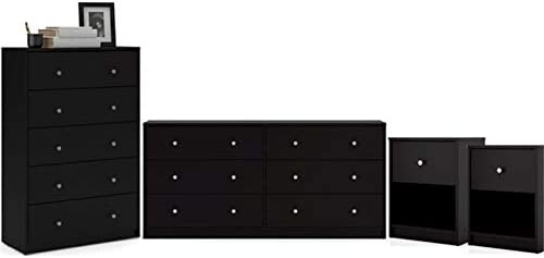Home Square 4 Piece Bedroom Set with 6-Drawer Double Dresser, 5-Drawer Chest and Two of 1-Drawer Nightstand in Black