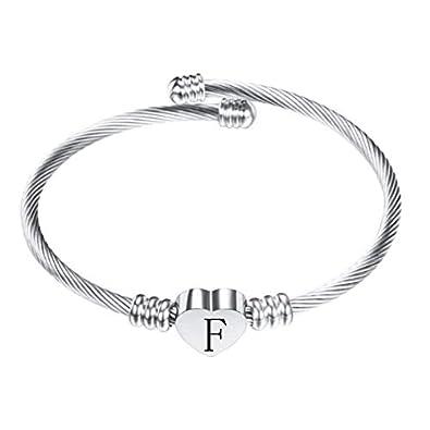 Gespout Bracelet 26 Lettres Bracelets Acier Inoxydable Unique Accessoires de Bijoux Cadeau pour Noel danniversaire F/ête des M/ères Saint Valentin