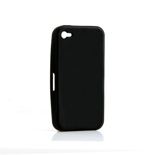 System-S Silikon Hülle Tasche Case Skin Cover Schutzhülle in Schwarz für Apple iPhone 4