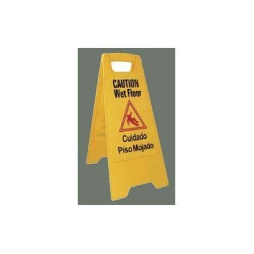 Winco WCS-25 2-Sided Wet Floor Caution Sign, Yellow Floor Marker Sign