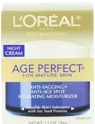 L'Oreal Skin Expertise Night Creme Age Perfect for Mature skin Anti-Sagging And Anti-Age Spot Hydrating Moisturizer Cream with Soy Seed Proteins, 2.5 Ounce Jar