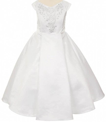 Little Girls Bridal Satin Rhinestone Studded Flowers Girls Dresses White Size 6 (Ball Studded Dress Gown)