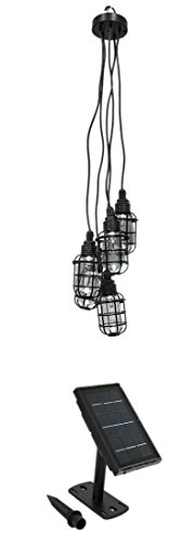 Paradise by Sterno Home Solar Outdoor LED Pendant Light, 2.2' Tall, Black